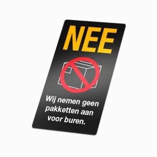 Nee Sticker Geen pakketjes Zwart geen colportage sticker
