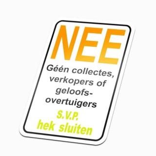 Nee sticker S.V.P. hek sluiten colportage sticker