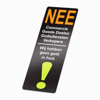 Nee Nee geen colportage Stickers Geen Geld