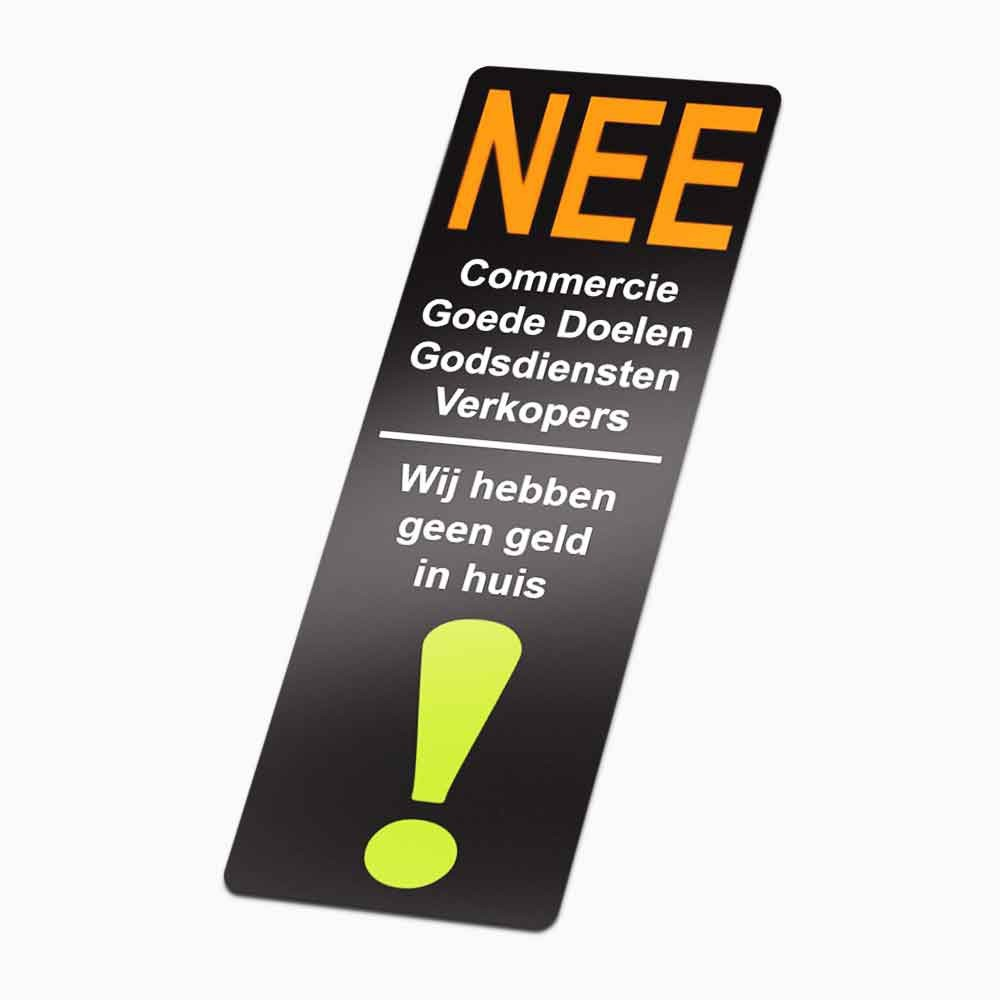 Nee Nee Stickers deur wij hebben Geen Geld foto sticker