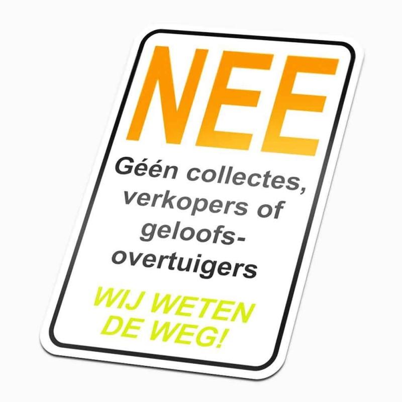 Nee anti colportage Sticker Wij weten de weg!