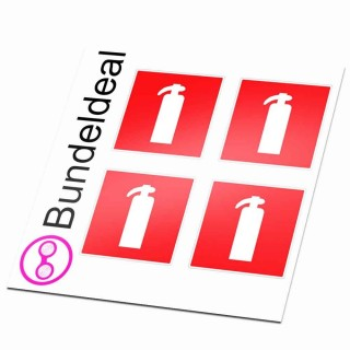 Brandblusser brandveiligheid set van 4 stickers