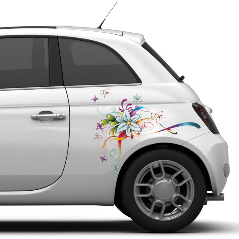 Striping bloemen auto sticker