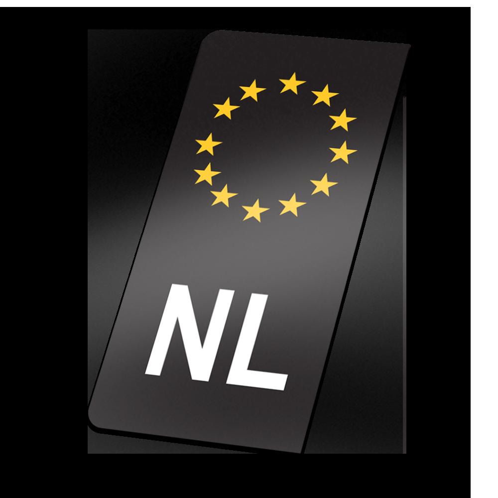 Zwarte NL sticker kentekenplaat