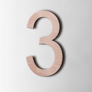 Houten Cijfer 3 Arial Okoume