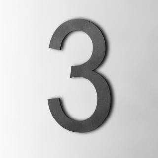 Houten Cijfer 3 Arial MDF Zwart
