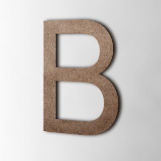 Houten Letter B Arial MDF Bruin