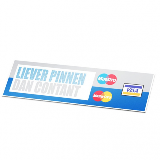 Liever pinnen dan contant mastercard visa sticker