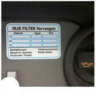 Olie Filter Service Onderhoud stickers