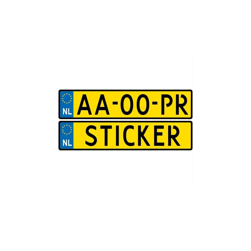 Kenteken Groot Sticker Eigen Naam