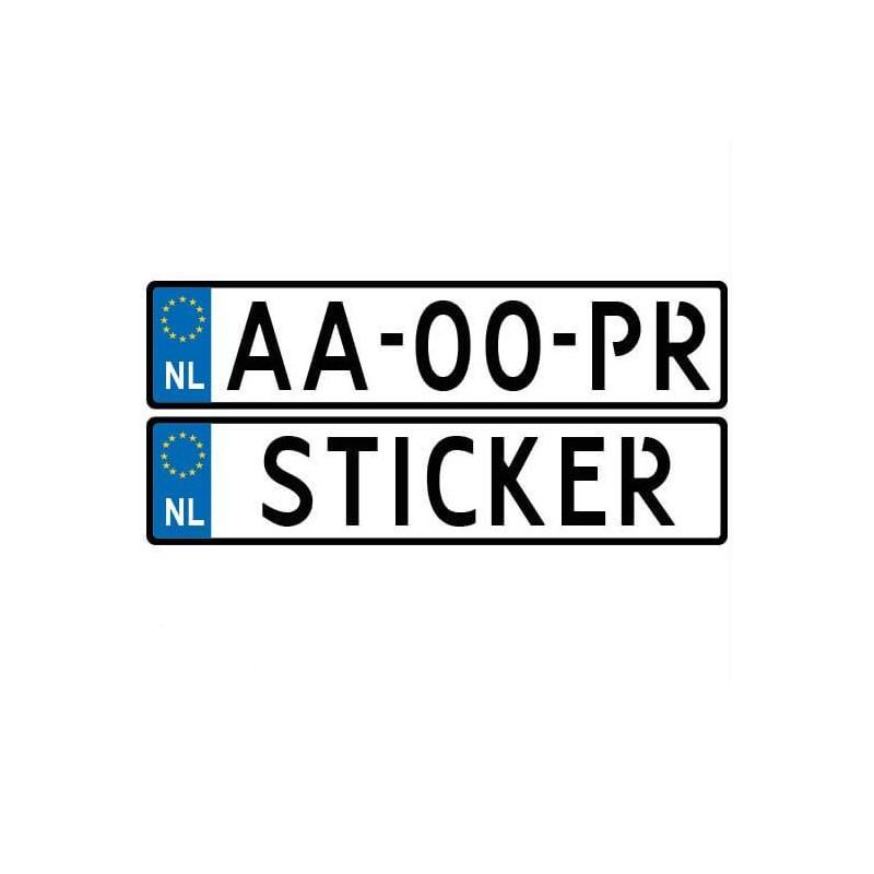 Aanhanger kenteken sticker met eigen nummer