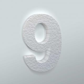 Piepschuim Cijfer 9 Arial