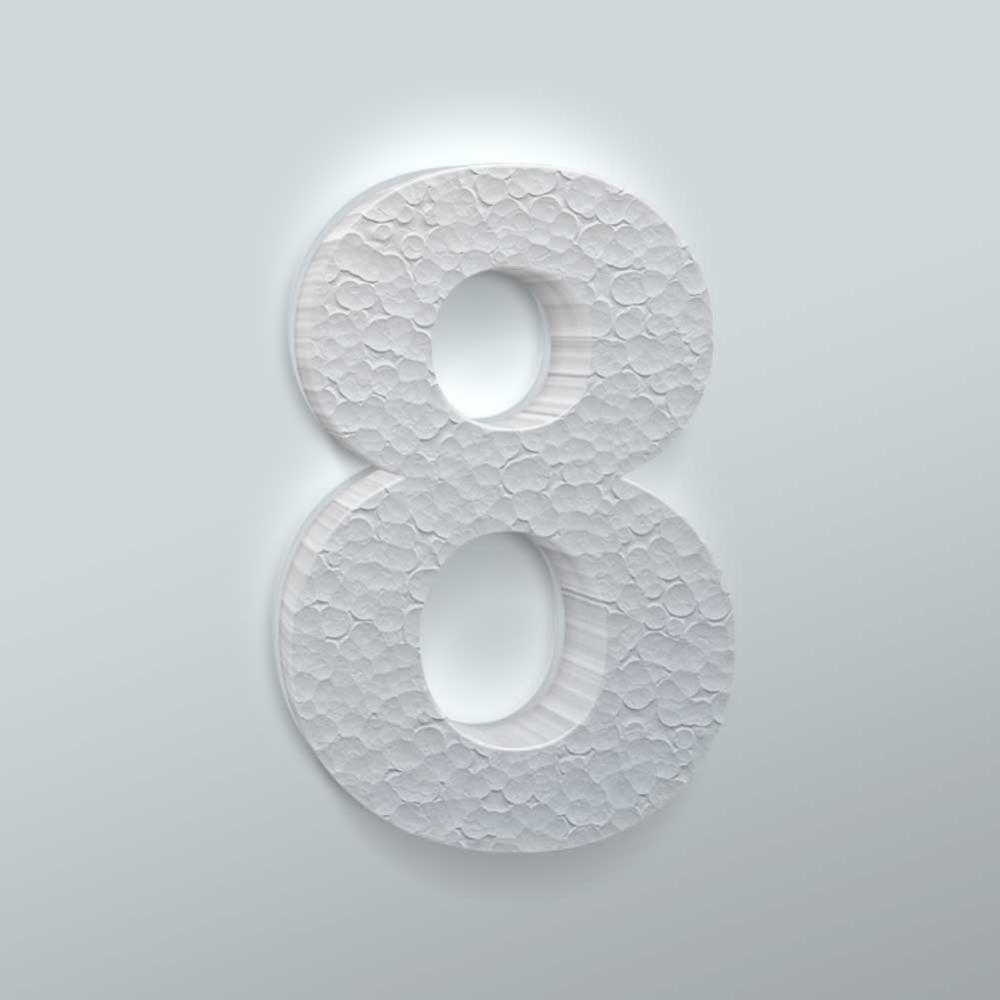 Piepschuim Cijfer 8 Arial