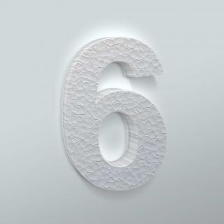 Piepschuim Cijfer 6 Arial