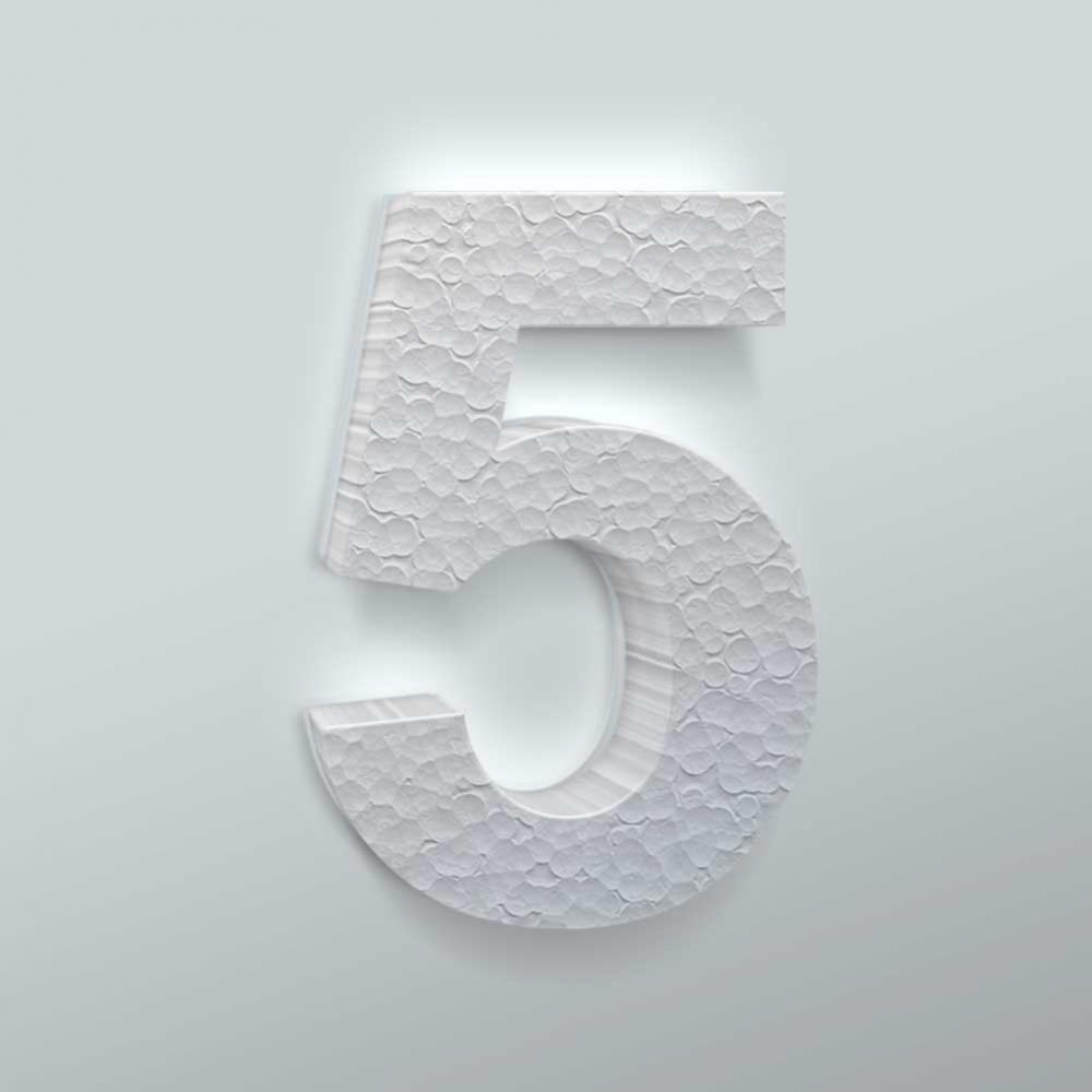 Piepschuim Cijfer 5 Arial