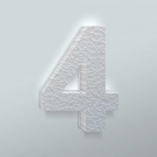 Piepschuim Cijfer 4 Arial