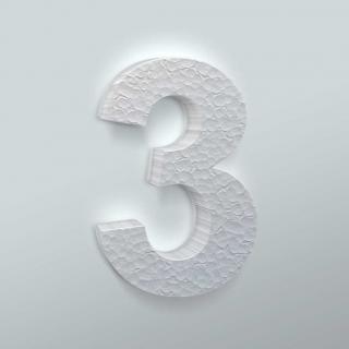 Piepschuim Cijfer 3 Arial