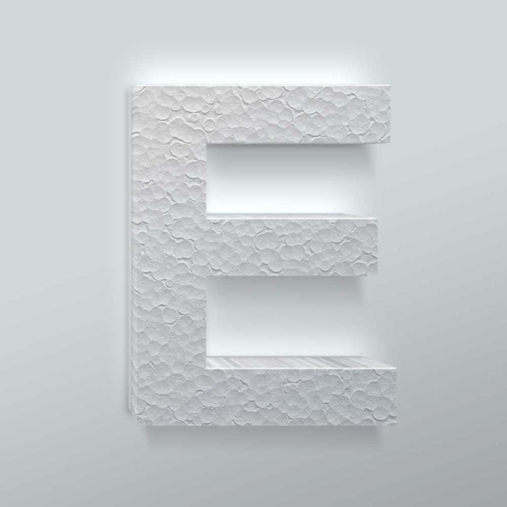 Piepschuim Letter E Arial