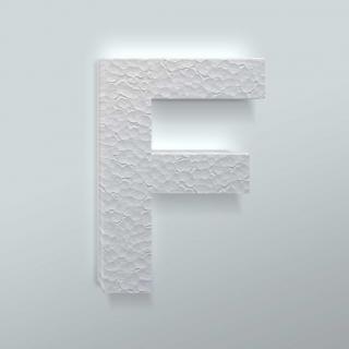 Piepschuim Letter F Arial