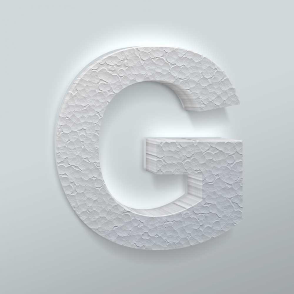 Piepschuim Letter G Arial