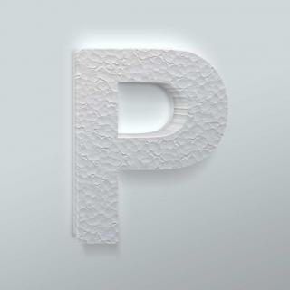 Piepschuim Letter P Arial