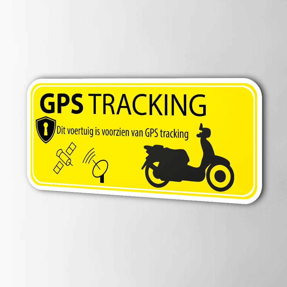 Scooter GPS tracking alarmsticker Geel
