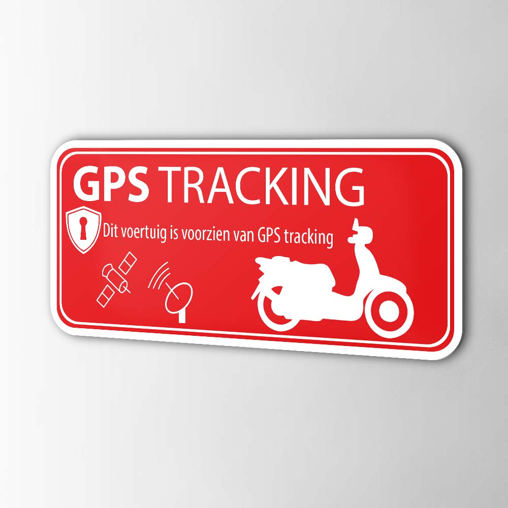Scooter GPS tracking alarmsticker Rood