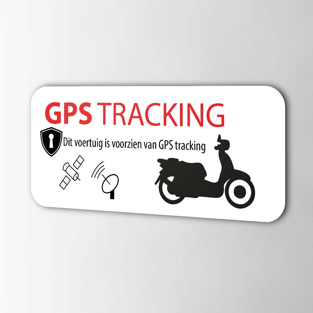 Scooter GPS tracking alarmsticker Wit