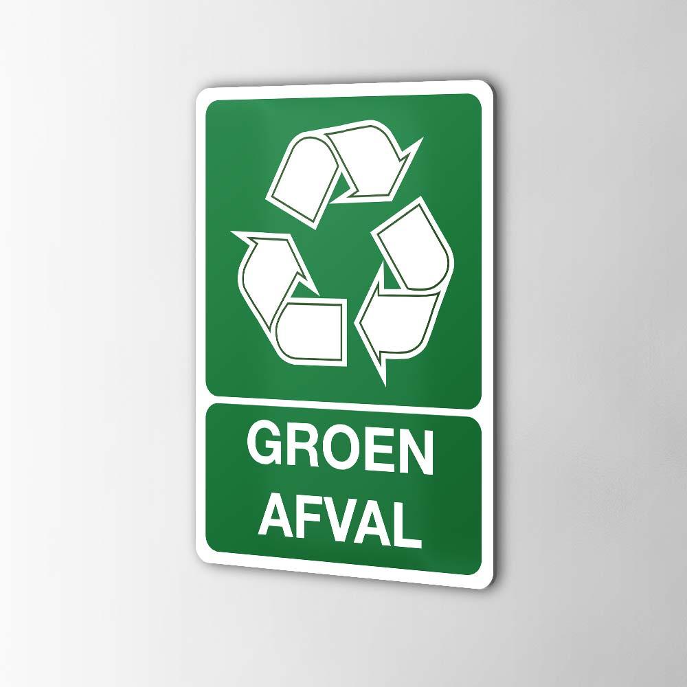 Gerecycled Groen Afval Sticker Pictogrammen