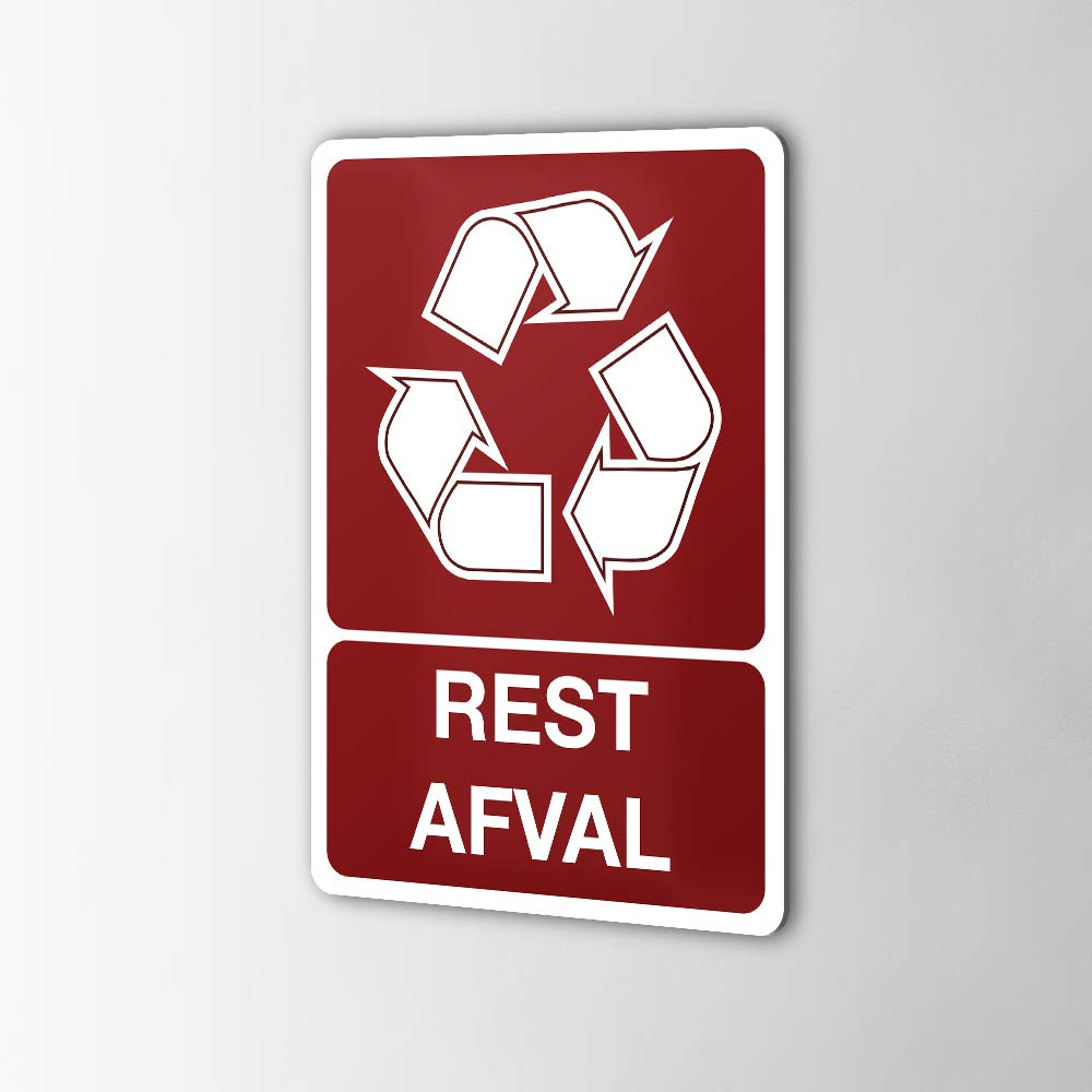 Gerecycled Restafval Sticker Pictogrammen