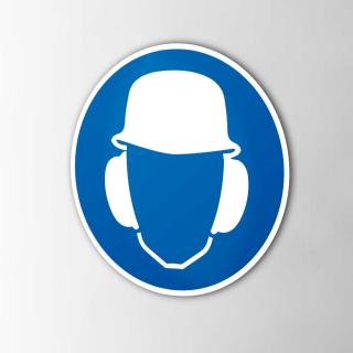 Gebodspictogram Gehoorbescherming en helm verplicht sticker