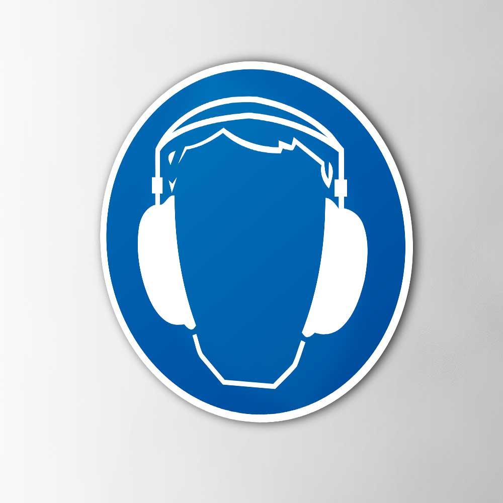 Gebodspictogram Gehoorbescherming verplicht sticker