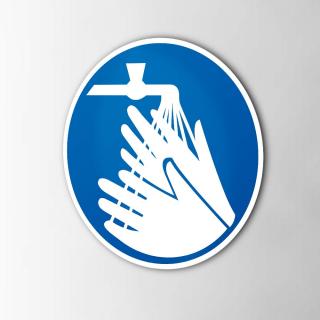 Gebodspictogram Handen wassen verplicht sticker