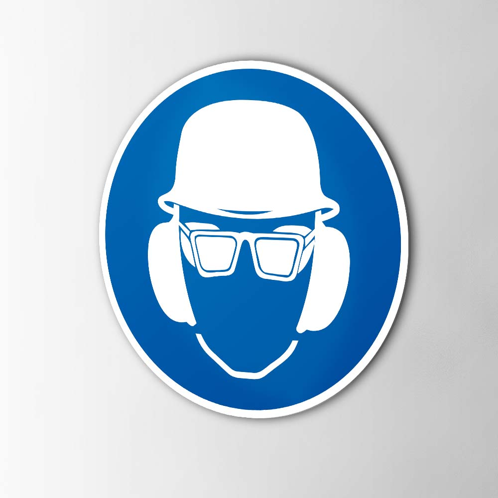 Gebodspictogram Helm, bril en oorkap verplicht sticker