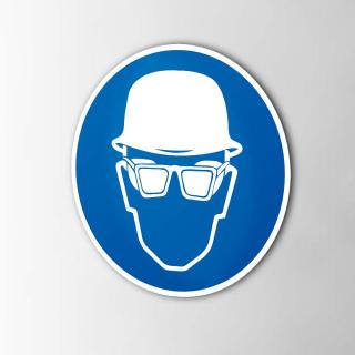Gebodspictogram Helm en bril verplicht sticker