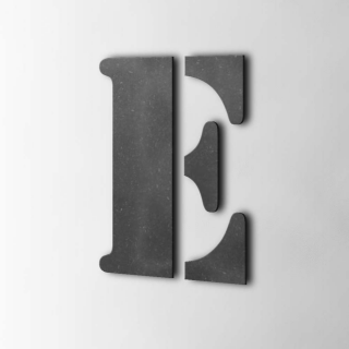 Houten Letter E Stencil MDF Zwart
