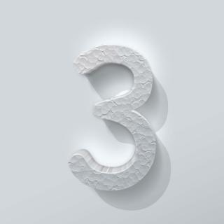 Piepschuim Cijfer 3 Comic Sans