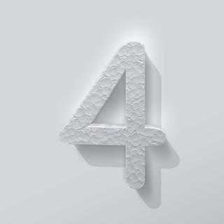 Piepschuim Cijfer 4 Comic Sans