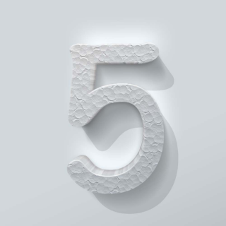 Piepschuim Cijfer 5 Comic Sans