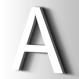 Kunststof Letter A Arial Acrylaat 9016 Traffic white