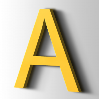 Kunststof Letter A Arial Acrylaat 1018 Zinc Yellow