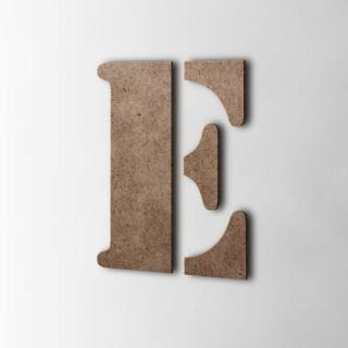 Houten Letter E Stencil MDF Bruin