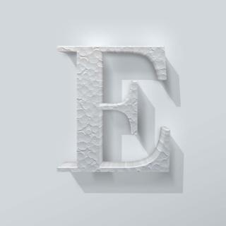 Piepschuim Letter E Bodoni