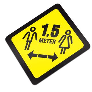 1,5 Meter Afstand Houden Corona Sticker Vierkant