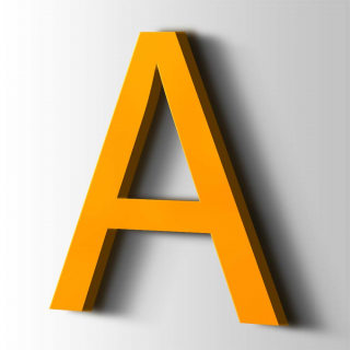 Kunststof Letter A Arial Acrylaat 1003 Signal Yellow