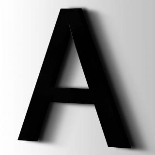 Kunststof Letter A Arial Acrylaat 9005 Jet Black