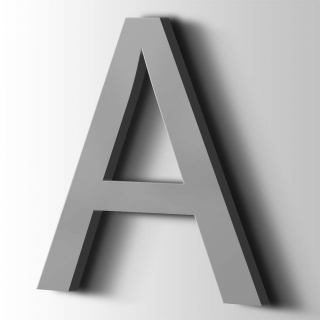 Kunststof Letter A Arial Acrylaat 7040 Window Grey