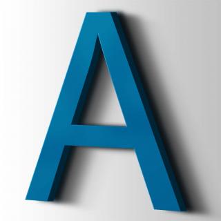 Kunststof Letter A Arial Acrylaat 5015 Sky Blue