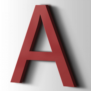 Kunststof Letter A Arial Acrylaat 3001 Signal Red