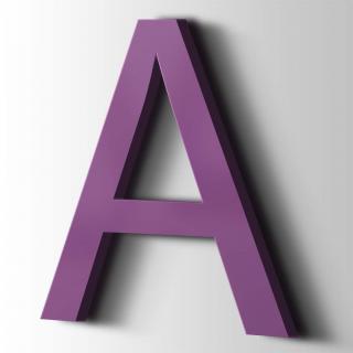 Kunststof Letter A Arial Acrylaat 4008 Signal Violet